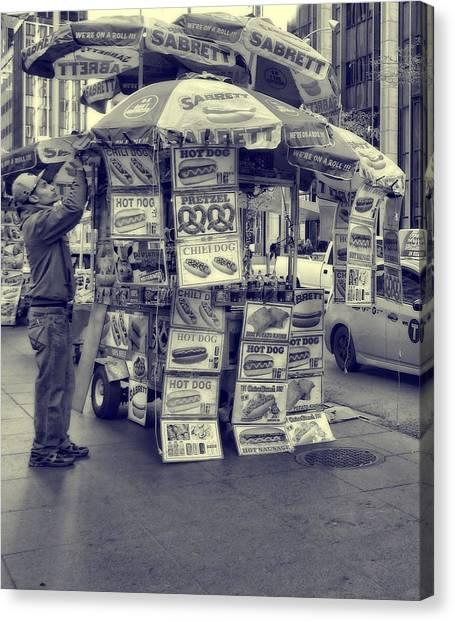 Hotdogs Canvas Print - Sabrett Vendor New York City by Dan Sproul