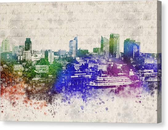 Sacramento State Canvas Print - Sacramento City Skyline by Aged Pixel