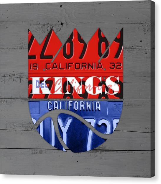 Sacramento Kings Canvas Print - Sacramento Kings Basketball Team Retro Logo Vintage Recycled California License Plate Art by Design Turnpike