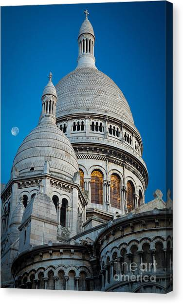 Europa Canvas Print - Sacre-coeur And Moon by Inge Johnsson