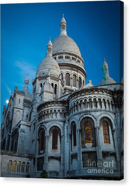 Europa Canvas Print - Sacre-coeur At Night by Inge Johnsson