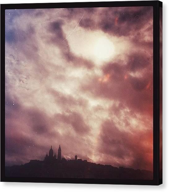 Paris Skyline Canvas Print - #sacrecoeur #paris #france #nuages by Jerome W