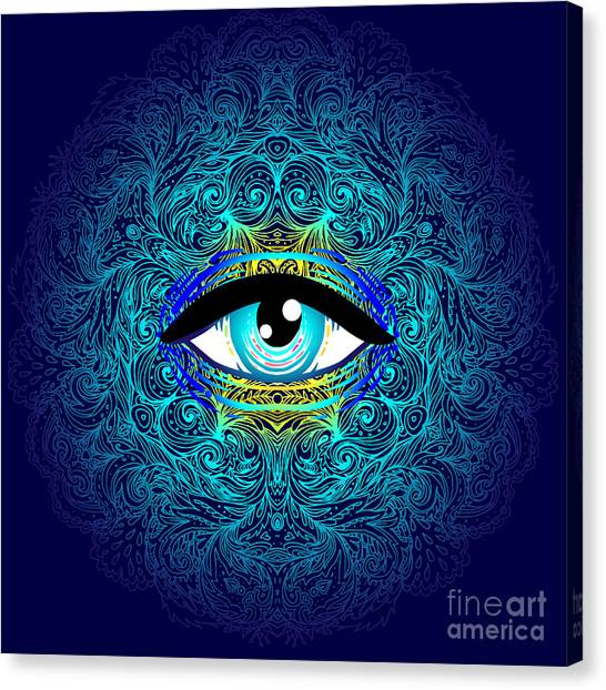 Magician Canvas Print - Sacred Geometry Symbol With All Seeing by Gorbash Varvara