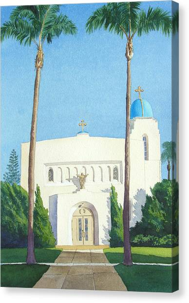 Heart Canvas Print - Sacred Heart Church Coronado by Mary Helmreich