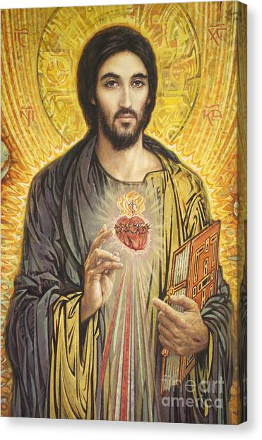 Heart Canvas Print - Sacred Heart Of Jesus Olmc by Smith Catholic Art