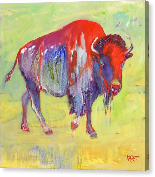 Bison Canvas Print - Sacred Warrior by Kate Dardine