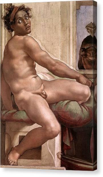 Michelangelo Simoni Canvas Print - Sacrifice Of Noah - Ignudo Detail by Michelangelo Buonarroti