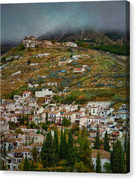 Sacromonte And Albayzin From The Alhambra Canvas Print