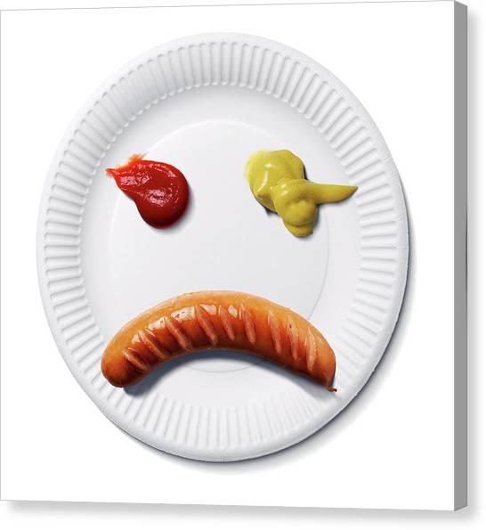 Ketchup Canvas Print - Sad Food Face by Smetek