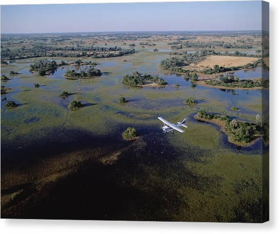 Okavango Swamp Canvas Print - Safari Airplane Flying Over Okavango by Konrad Wothe