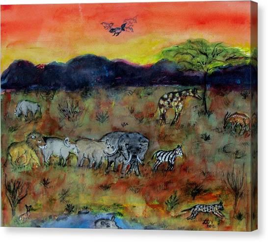 Safari In The Masia Mara Canvas Print
