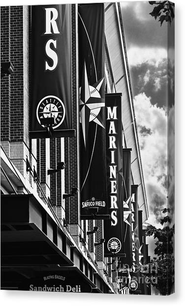 Seattle Mariners Canvas Print - Safeco Black And White by Cheyenne Rose