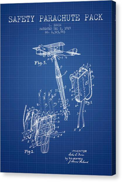Skydiving Canvas Print - Safety Parachute Patent From 1919 - Blueprint by Aged Pixel