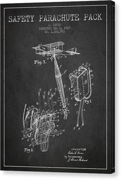 Skydiving Canvas Print - Safety Parachute Patent From 1919 - Charcoal by Aged Pixel