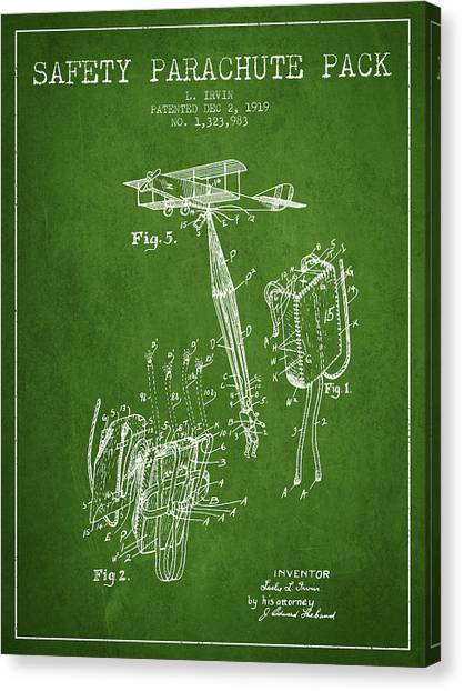Skydiving Canvas Print - Safety Parachute Patent From 1919 - Green by Aged Pixel