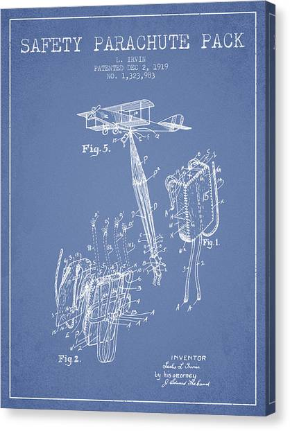 Skydiving Canvas Print - Safety Parachute Patent From 1919 - Light Blue by Aged Pixel