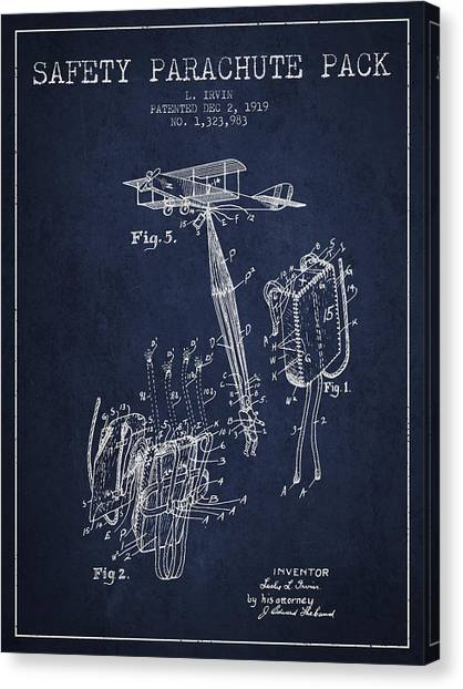 Skydiving Canvas Print - Safety Parachute Patent From 1919 - Navy Blue by Aged Pixel