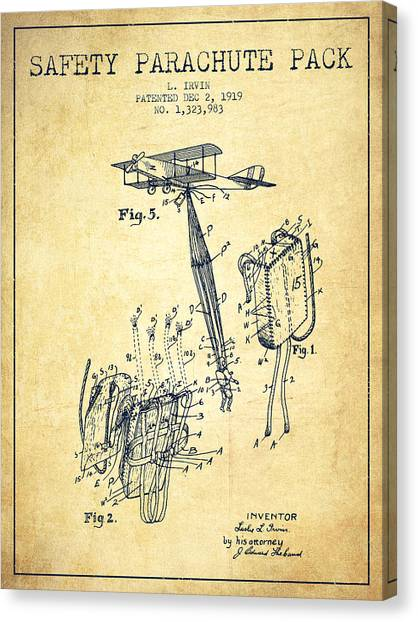 Skydiving Canvas Print - Safety Parachute Patent From 1919 - Vintage by Aged Pixel