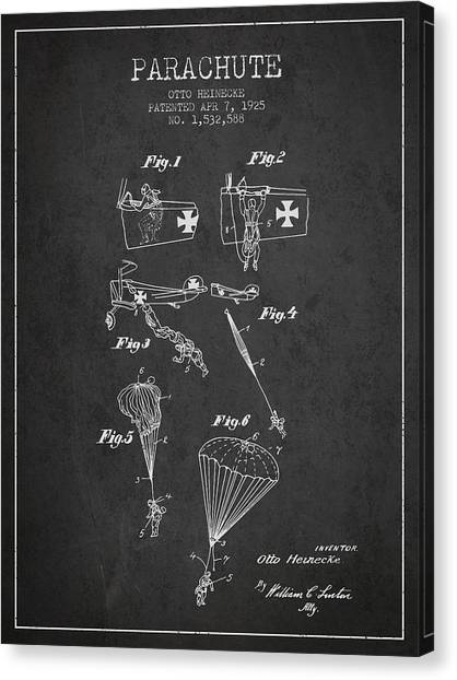 Skydiving Canvas Print - Safety Parachute Patent From 1925 - Charcoal by Aged Pixel