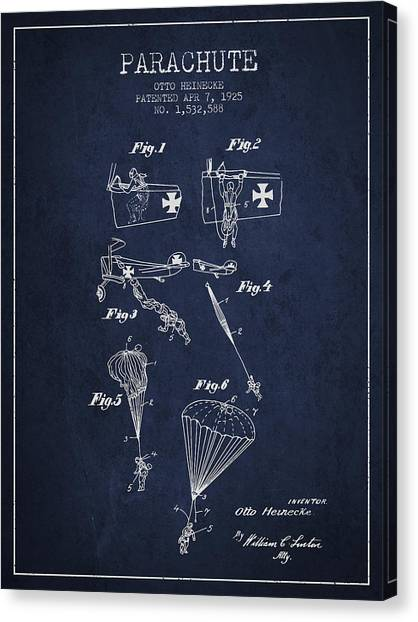 Skydiving Canvas Print - Safety Parachute Patent From 1925 - Navy Blue by Aged Pixel