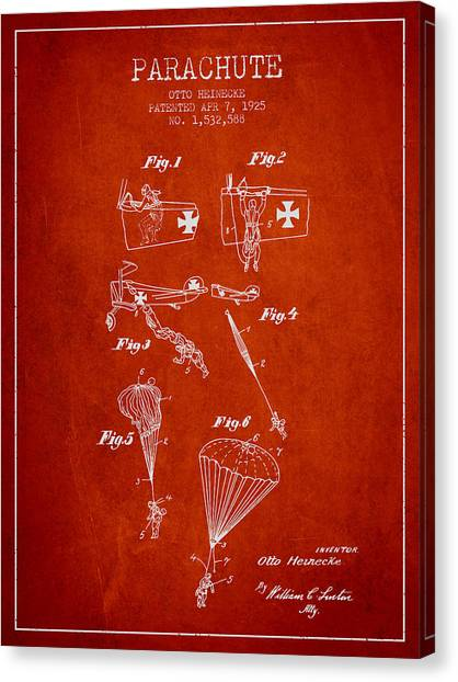 Skydiving Canvas Print - Safety Parachute Patent From 1925 - Red by Aged Pixel