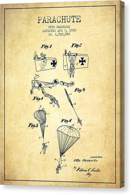 Skydiving Canvas Print - Safety Parachute Patent From 1925 - Vintage by Aged Pixel