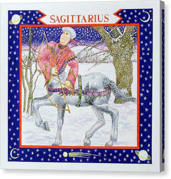 Centaurs Canvas Print - Sagittarius Wc On Paper by Catherine Bradbury