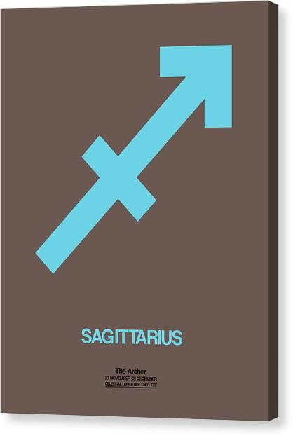 Signs Canvas Print - Sagittarius Zodiac Sign Blue by Naxart Studio