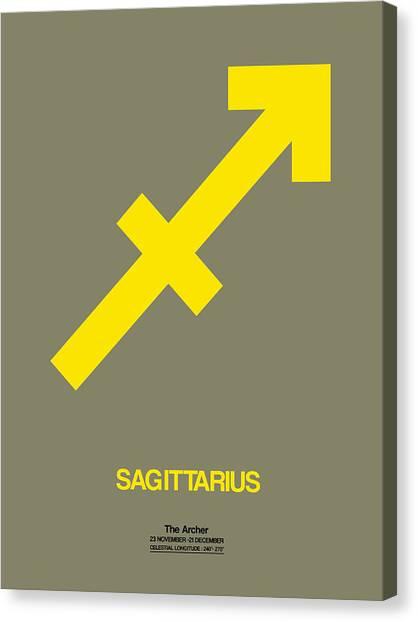 Signs Canvas Print - Sagittarius Zodiac Sign Yellow by Naxart Studio