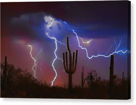 Lightning Canvas Print - Saguaro Lightning Nature Fine Art Photograph by James BO  Insogna