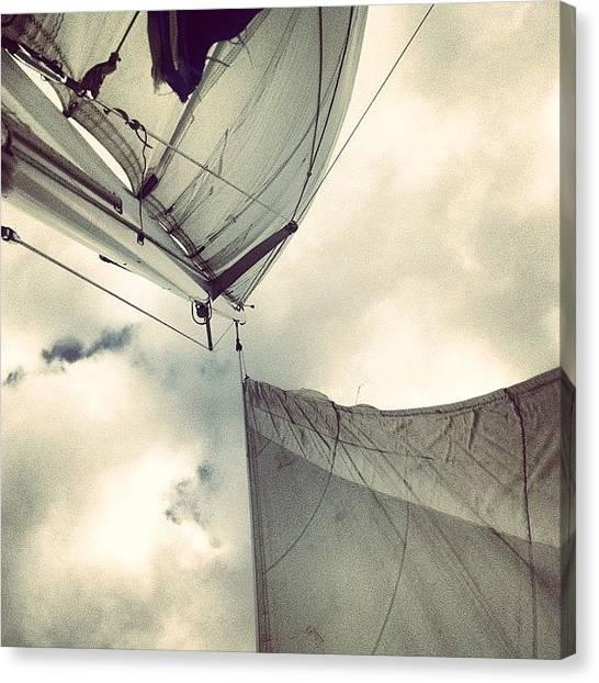 Jibbing Canvas Print - #sail #jib #mainsail #sky #clouds by Tony Sinisgalli