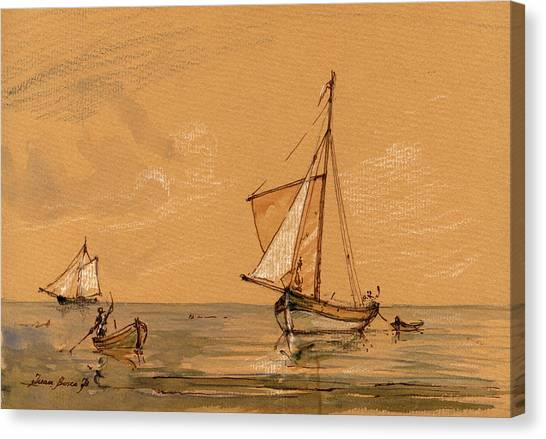 Nautical Decor Canvas Print - Sail Ship by Juan  Bosco