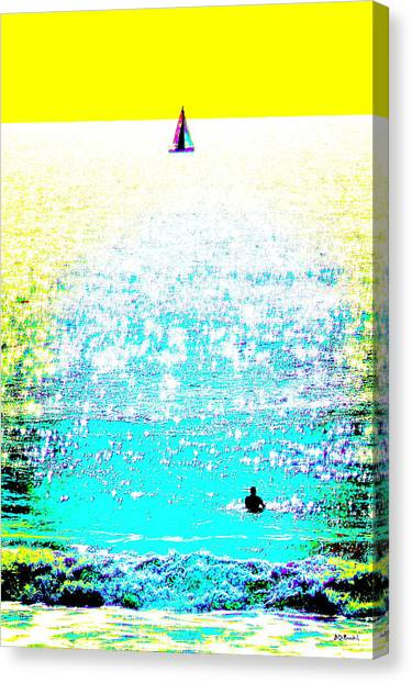 Sailboat And Swimmer -- 2c Canvas Print by Brian D Meredith