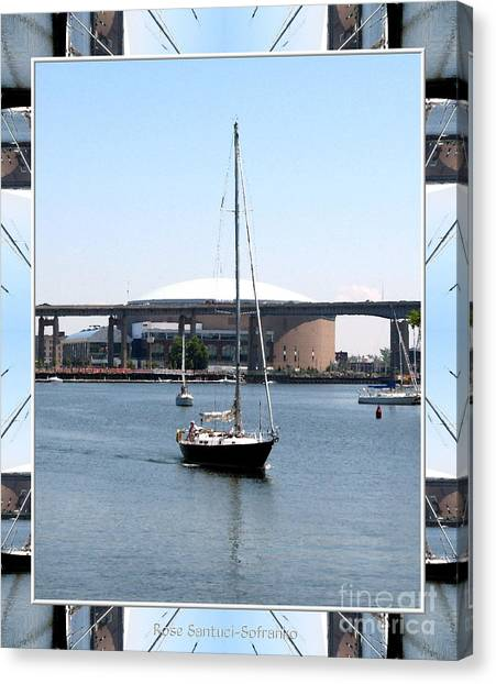 Buffalo Sabres Canvas Print - Sailboat At Erie Basin Marina In Buffalo New York by Rose Santuci-Sofranko