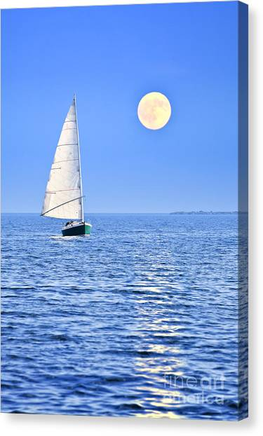 Boat Canvas Print - Sailboat At Full Moon by Elena Elisseeva