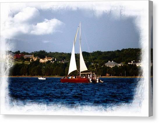 Sailboat At Lake Ray Hubbard Canvas Print