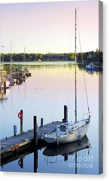 Sailboat At Sunrise Canvas Print