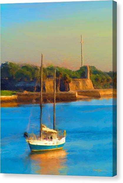 Da147 Sailboat By Daniel Adams Canvas Print