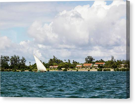 Sailboat In Choppy Waters, Ibo Island Canvas Print by Danita Delimont