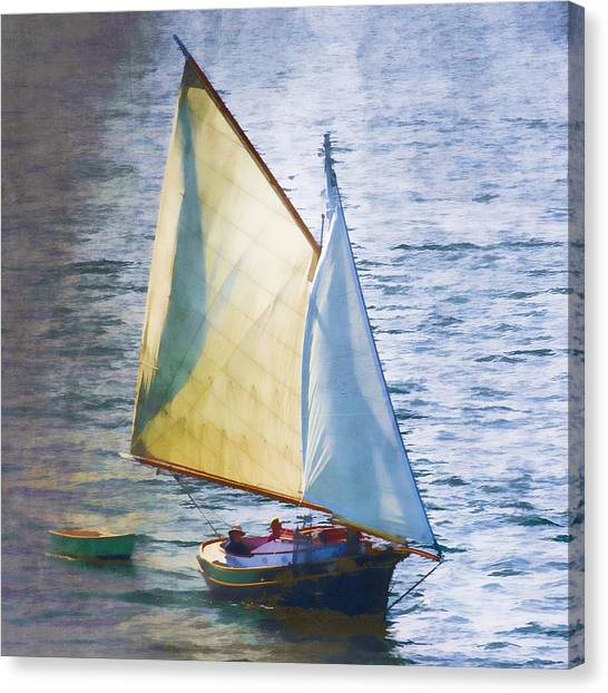 Marthas Vineyard Canvas Print - Sailboat Off Marthas Vineyard Massachusetts by Carol Leigh