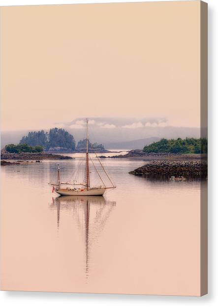 Sailboat On Inside Passage Of Alaska Canvas Print
