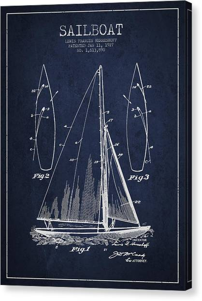 Boat Canvas Print - Sailboat Patent Drawing From 1927 by Aged Pixel