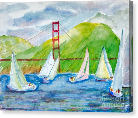 Sailboat Race At The Golden Gate Canvas Print