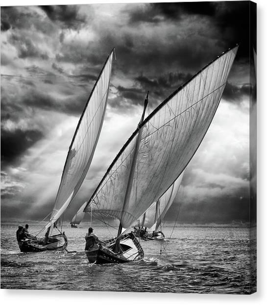 Sail Boats Canvas Print - Sailboats And Light by Angel Villalba
