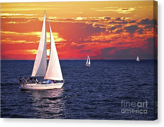 Boat Canvas Print - Sailboats At Sunset by Elena Elisseeva