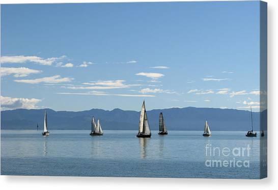 Sailboats In Blue Canvas Print