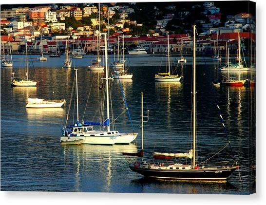 Sailboats Sunrise Canvas Print by Tim Nielsen