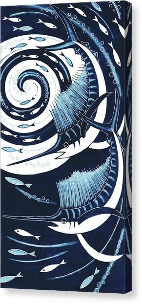 Printmaking Canvas Print - Sailfish, 2013 Woodcut by Nat Morley