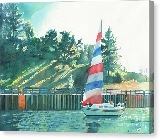 Sailing Back To Port, Sail Boat Paintings, Sail Boat Prints, Sailing, Pentwater, Michigan, Lakes Canvas Print