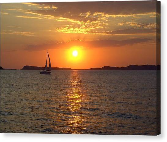 Sailing Boat In Ibiza Sunset Canvas Print